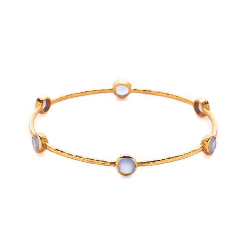 Julie Vos 24 Karat Gold Plated Milano 6-Stone Chalcedony Blue Bangle Bracelet