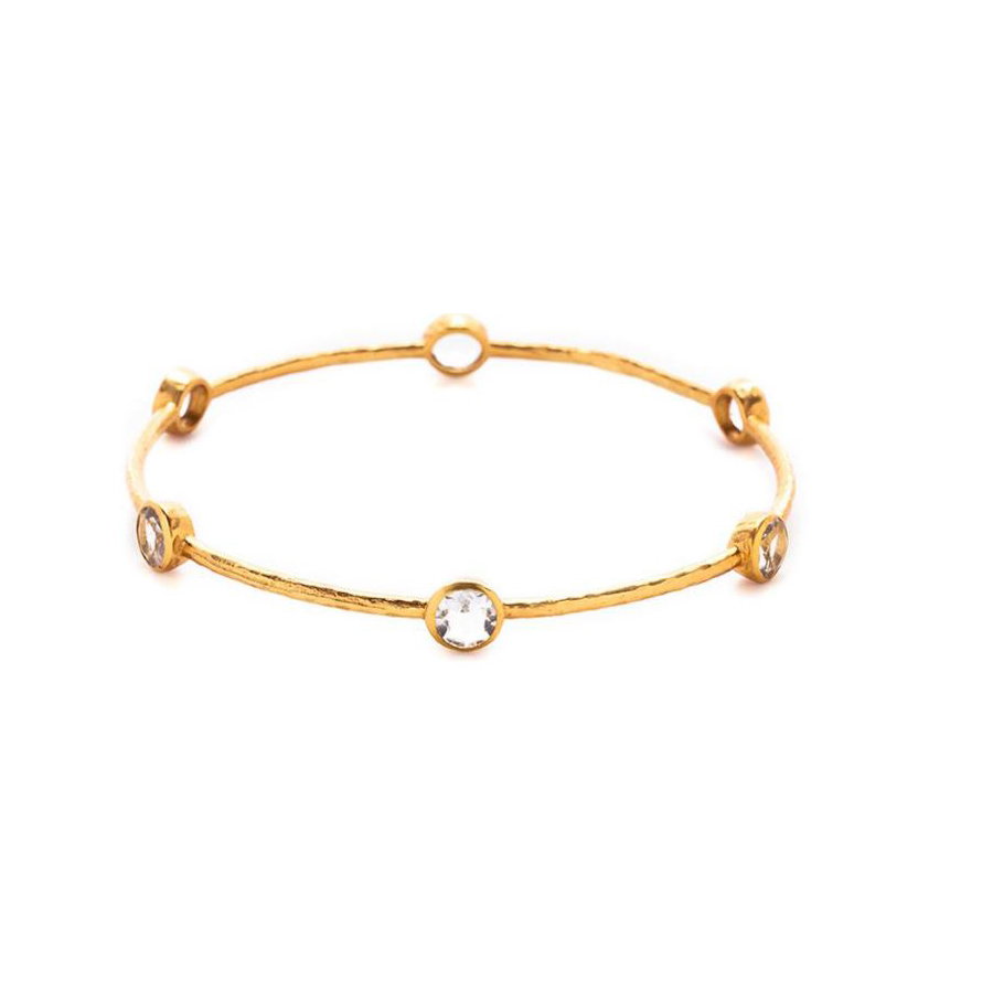 Julie Vos 24 Karat Gold Plated Milano 6 Stone Clear Crystal Bangle Bracelet