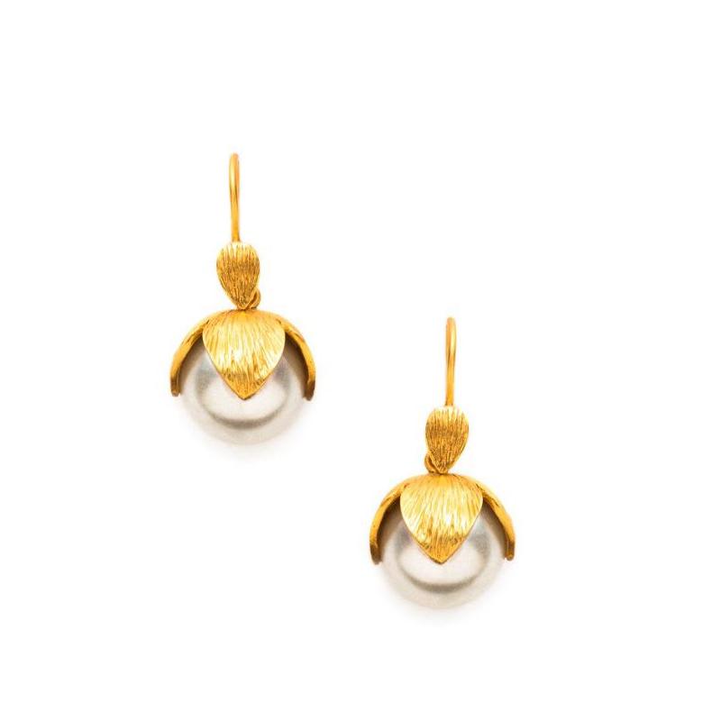 Julie Vos 24 Karat Gold Plated Penelope Pearl Dangle Earrings