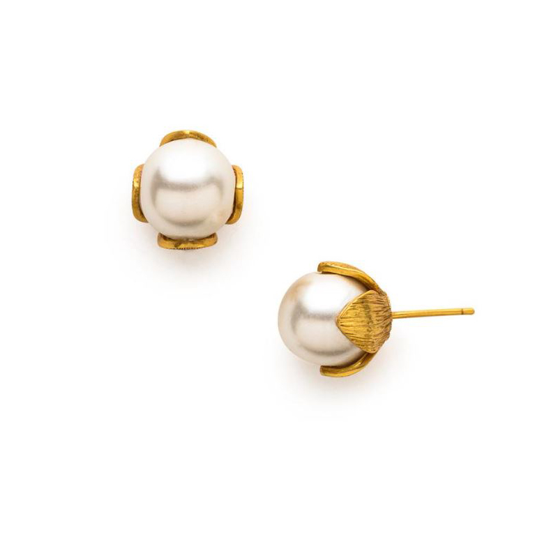 Julie Vos 24 Karat Gold Plated Penelope Pearl Stud Earrings