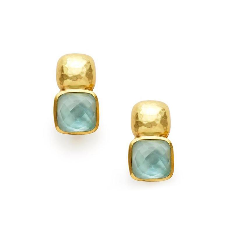 Julie Vos 24 Karat Gold Plated Iridescent Aquamarine Catalina Earrings