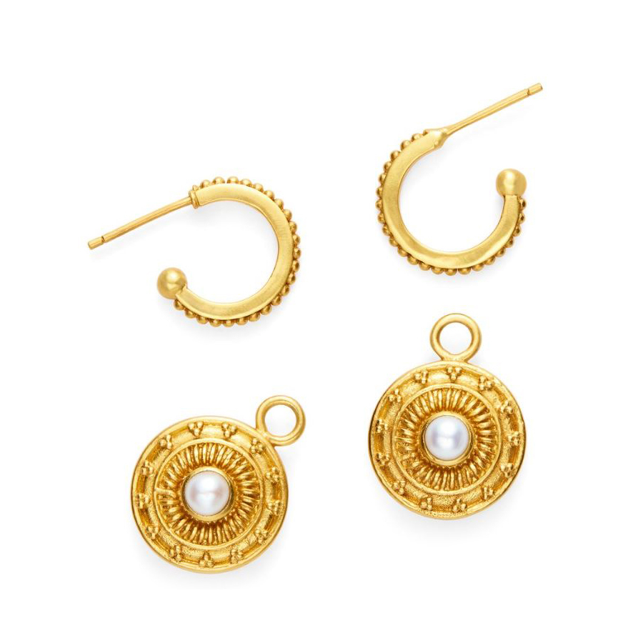 Julie Vos 24 Karat Gold Plated Sofia Reversable Mother-of-Pearl/Pearl Earrings