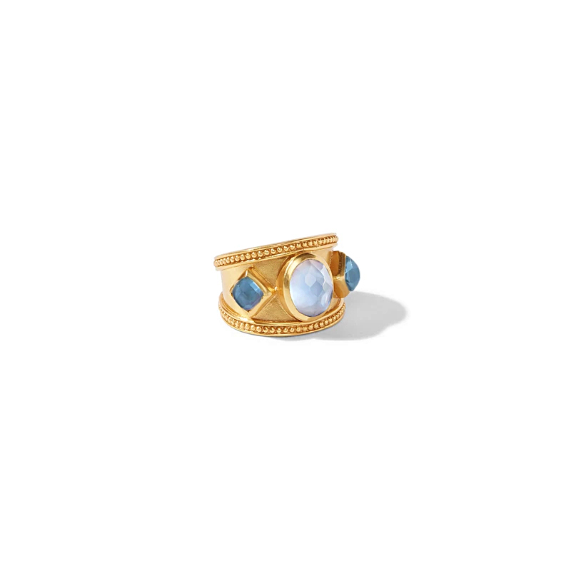 Julie Vos 24 Karat Gold Plated Loire Iridescent Aquamarine and Pearl Ring