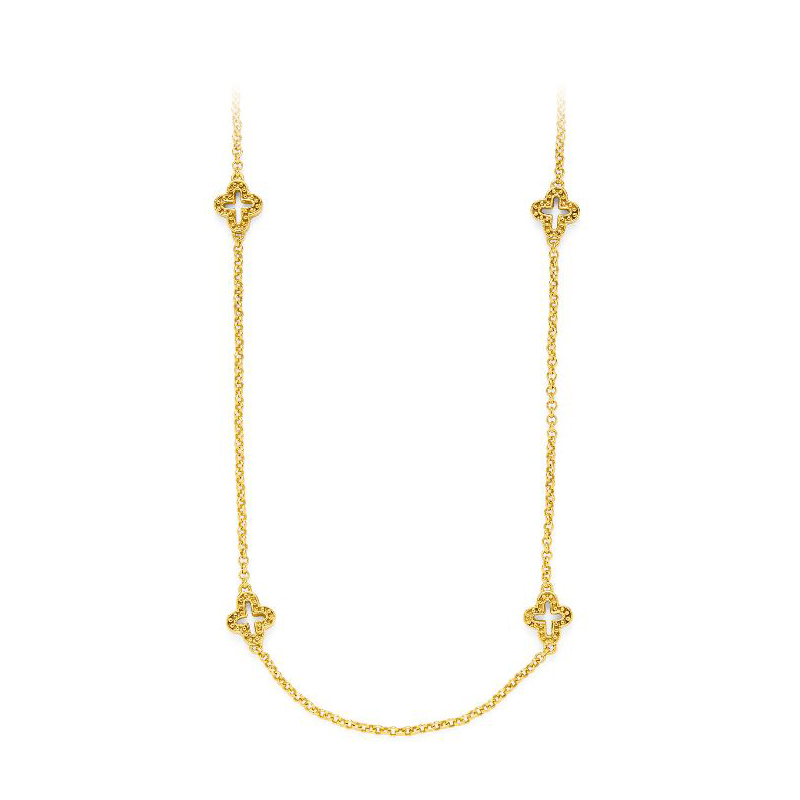 Julie Vos 24 Karat Gold Plated Florentine Station Necklace