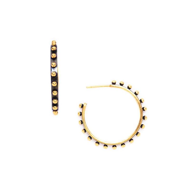 Julie Vos 24 Karat Gold Plated Soho Black Hoop Earrings