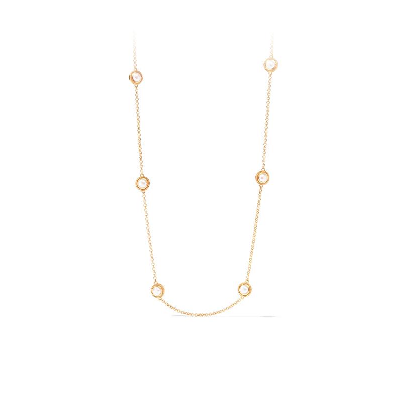 Julie Vos 24 Karat Gold Plated Loire Black Onyx Station Necklace