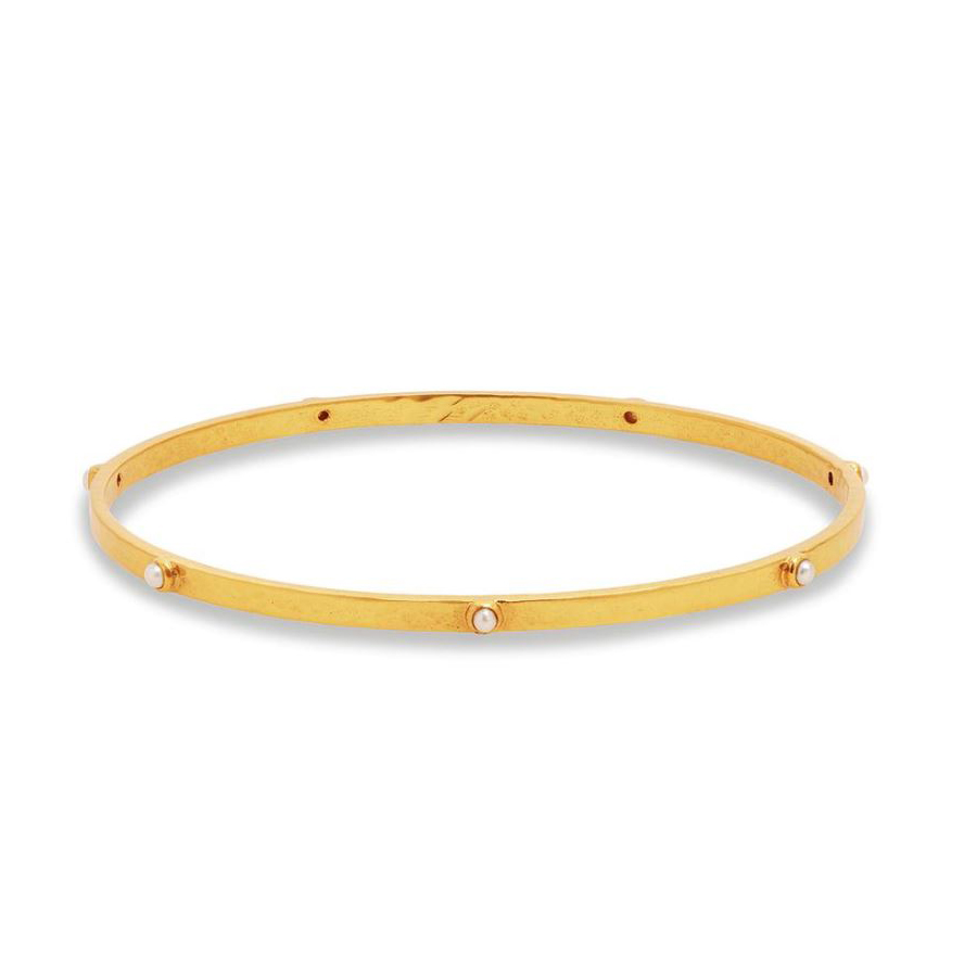 Julie Vos 24 Karat Gold Plated Crescent Pearl Bangle Bracelet