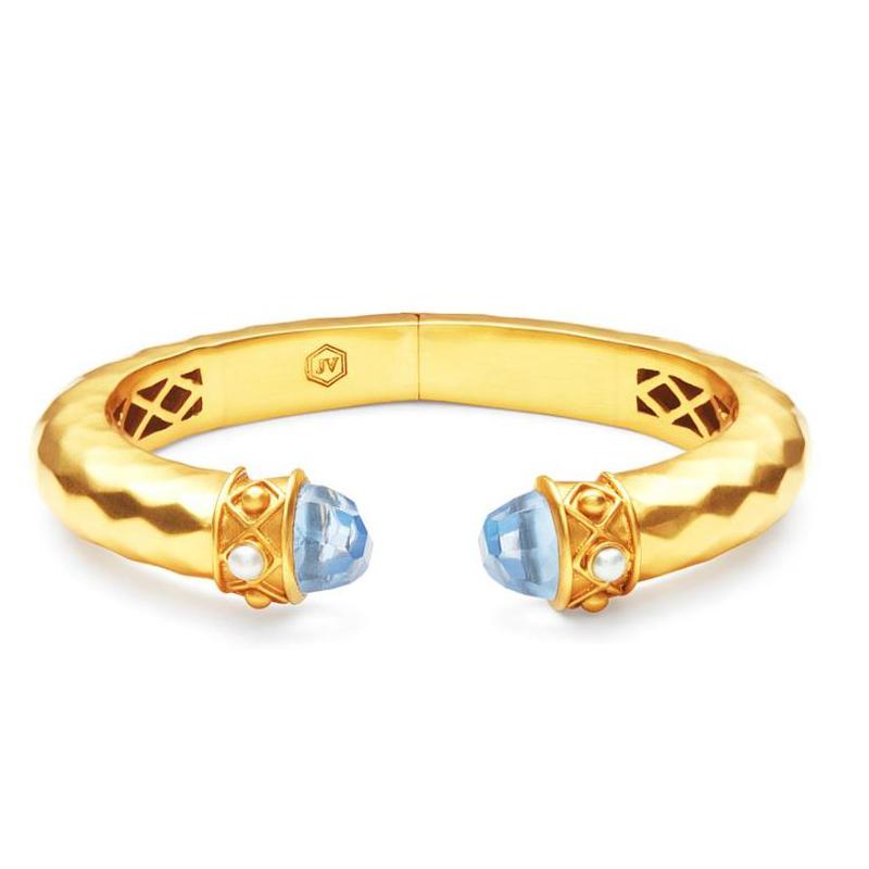 Julie Vos 24 Karat Gold-Plated Savannah Demi Hinge Cuff Iridescent Chalcedony and Pearl Bracelet