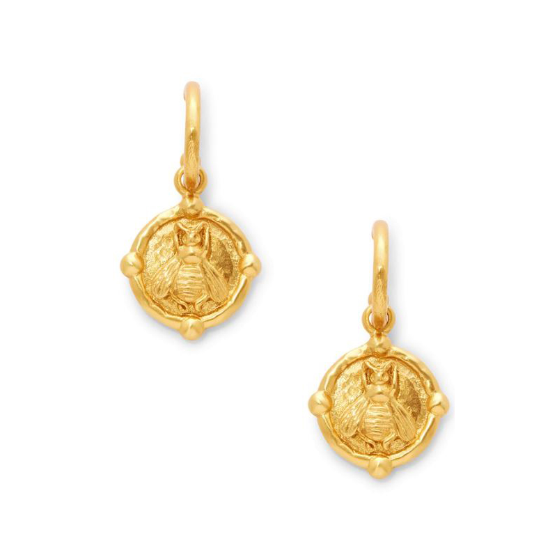 Julie Vos 24 Karat Gold-Plated Bee Hoop and Charm Earrings