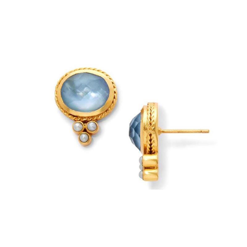 Julie Vos 24 Karat Gold Plated Mirren Iridescent Chalcedony Blue Stud Earrings
