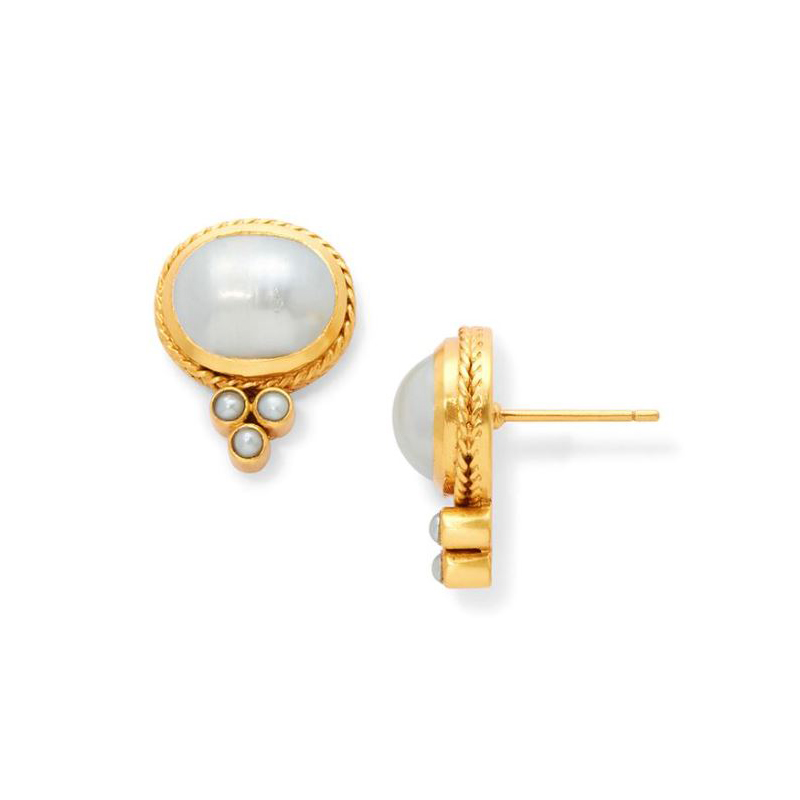 Julie Vos 24 Karat Gold Plated Mirren Iridescent Pearl Stud Earrings