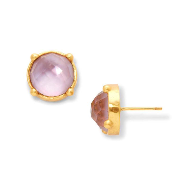 Julie Vos 24 Karat Gold Plated Iridescent Rose Honey Stud