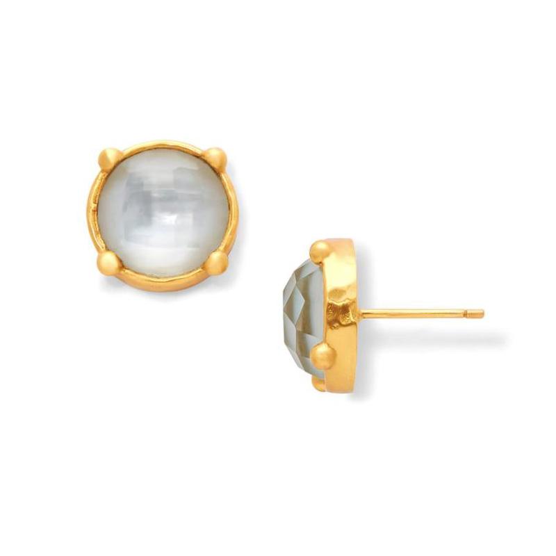 Julie Vos 24 Karat Gold Plated Iridescent Clear Honey Stud