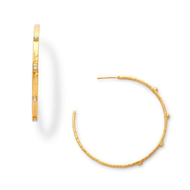 Julie Vos 24 Karat Gold Plated Crescent Hoop Pearl Earrings