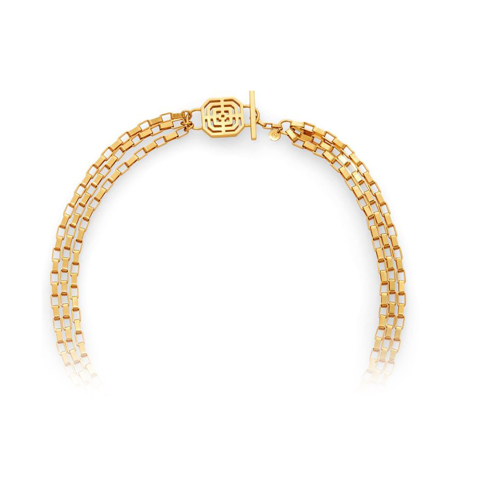 Julie Vos 24 Karat Gold Plated Geneva Triple Strand Necklace