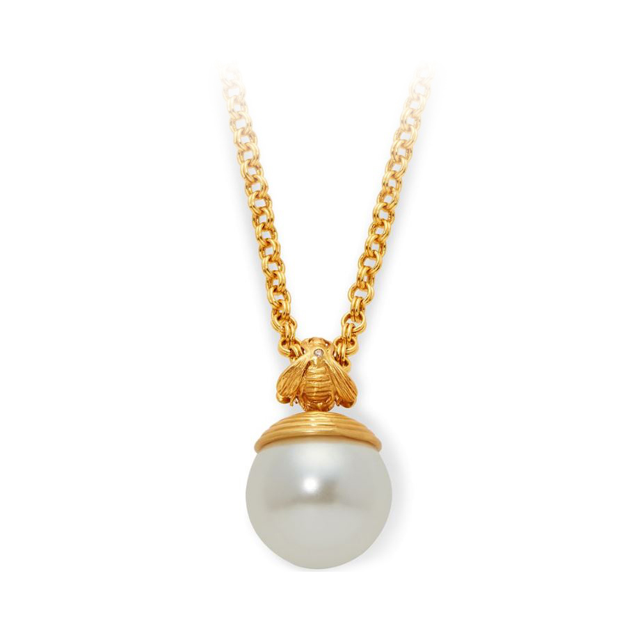 Julie Vos 24 Karat Gold Plated Bee and Pearl Pendant Necklace