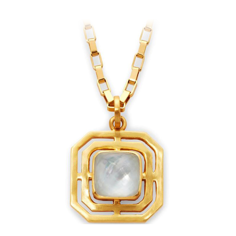 Julie Vos 24 Karat Gold Plated Geneva Iridescent Clear Pendant Necklace