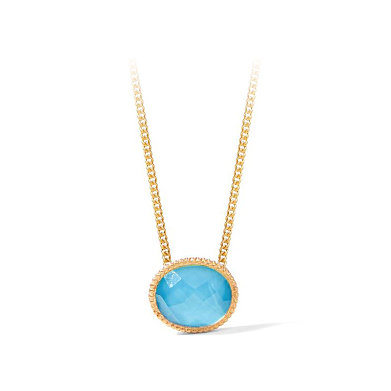 Julie Vos 24 Karat Gold Plated Verona Pacific Blue Solitaire Necklace