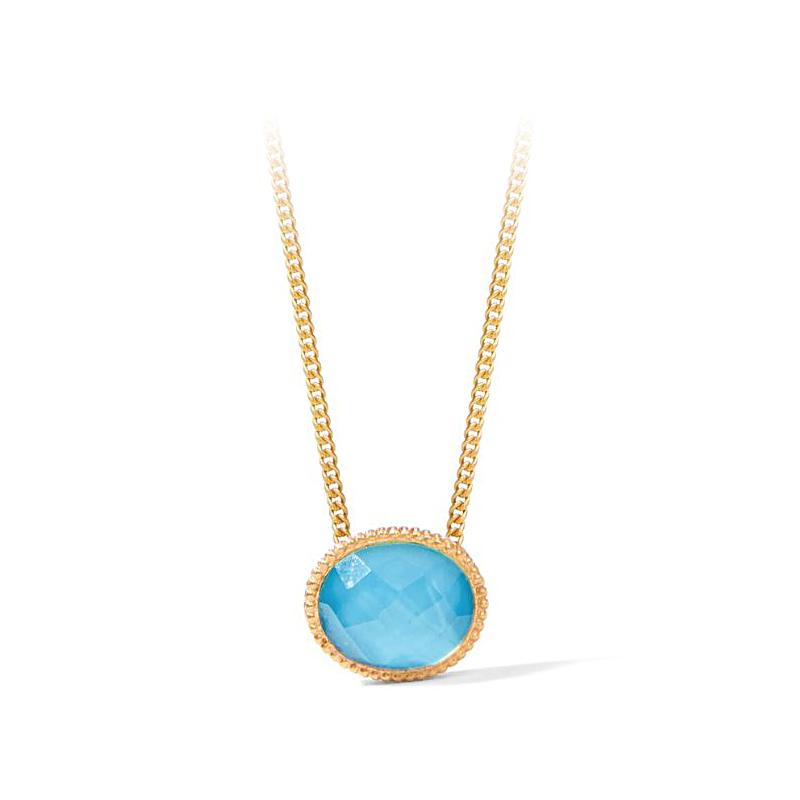 Julie Vos 24 Karat Gold Plated Verona Pacific Blue Solitaire Necklace