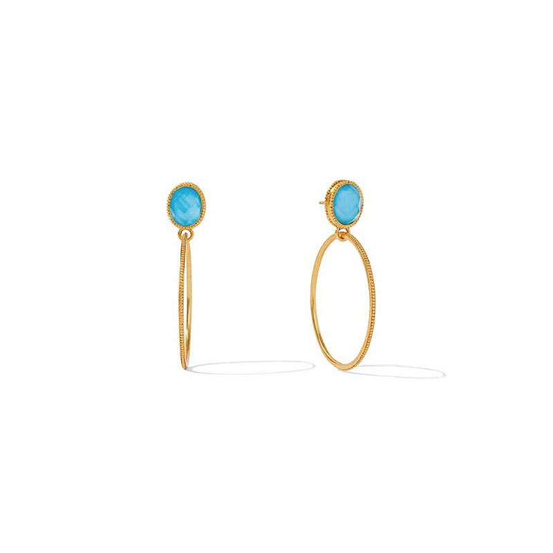 Julie Vos 24 Karat Gold Plated Verona Pacific Blue Statement Earrings