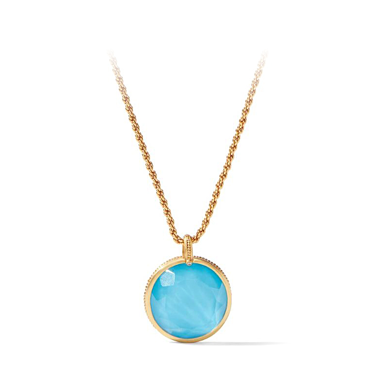 Julie Vos 24 Karat Gold Plated Pacific Blue Coin Statement Pendant Necklace