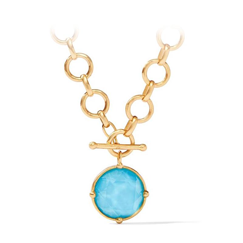 Julie Vos 24 Karat Gold Plated Pacific Blue Honeybee Statement Necklace
