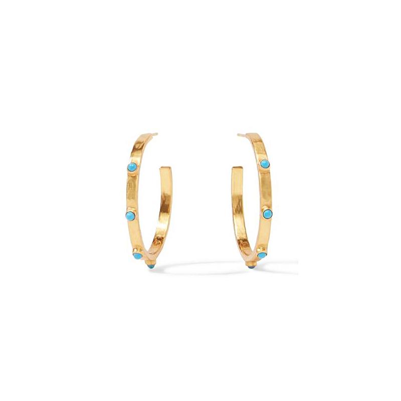 Julie Vos 24 Karat Gold Plated Crescent Pacific Blue Hoop Earrings