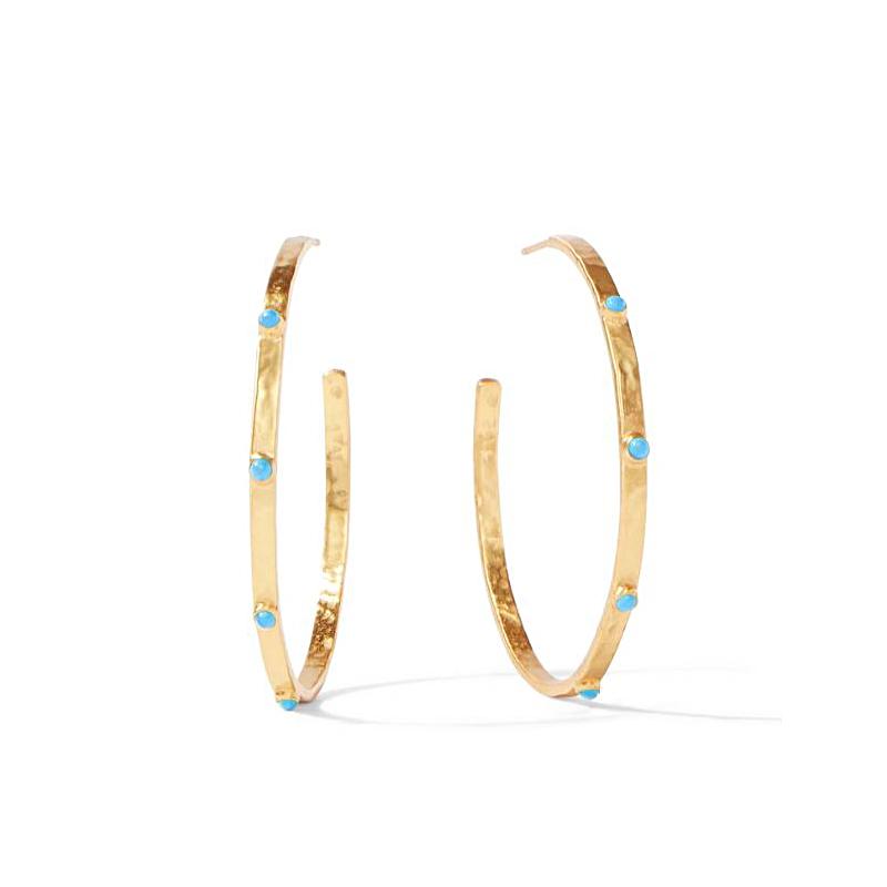 Julie Vos 24 Karat Gold Plated Crescent Pacific Blue Thin Hoop Earrings