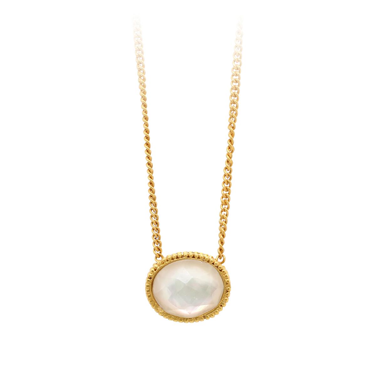 Julie Vos 24 Karat Gold Plated Verona Iridescent Crystal Solitaire Necklace