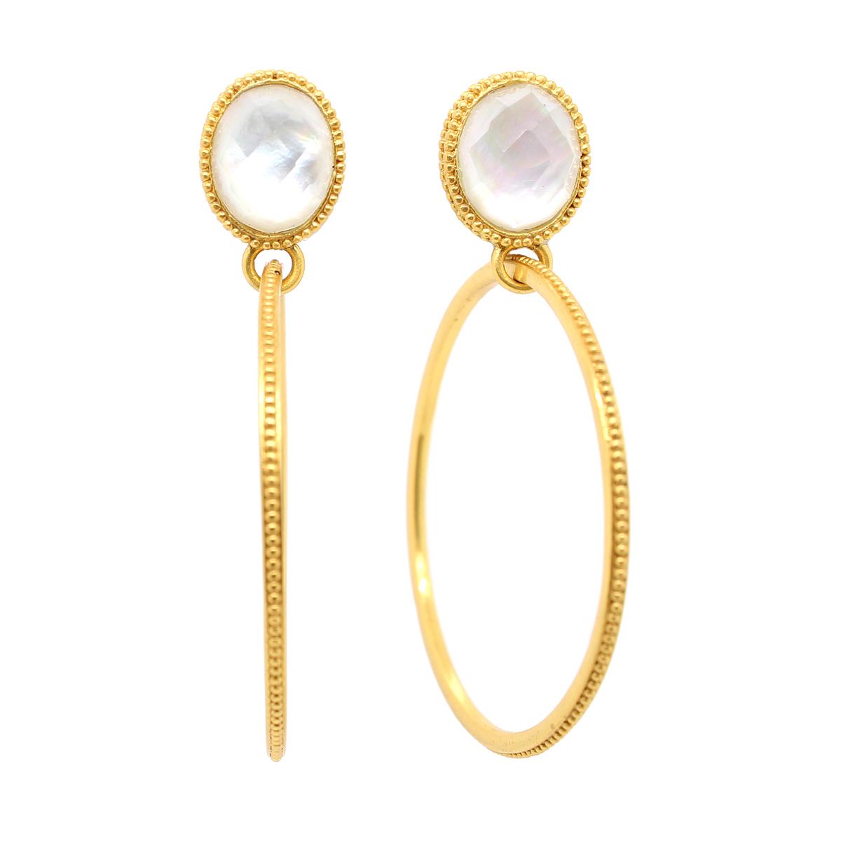 Julie Vos 24 Karat Gold Plated Verona Iridescent Crystal Statement Earrings