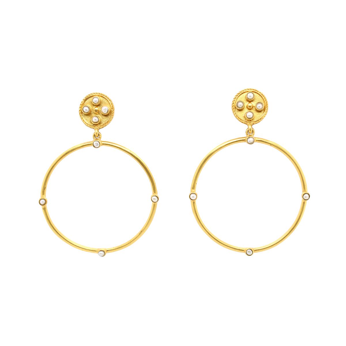 Julie Vos 24 Karat Gold Plated Paris Pearl Statement Earrings