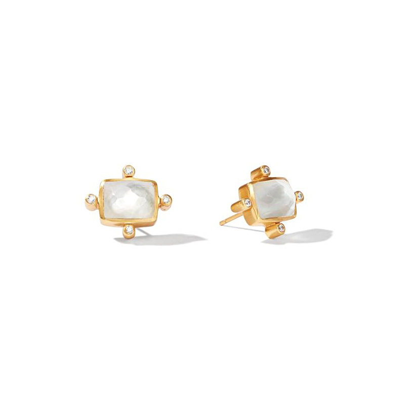 Julie Vos 24 Karat Gold Plated Iridescent Clear Crystal Clara Stud Earrings