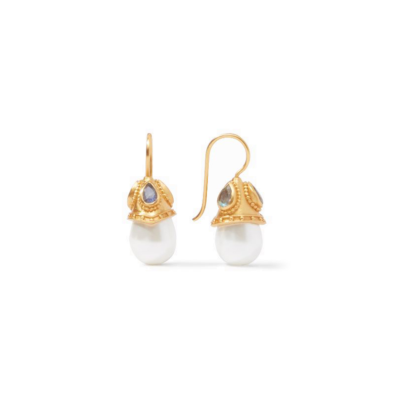 Julie Vos 24 Karat Gold Plated Baroque Demi Pearl and Labradorite Earrings