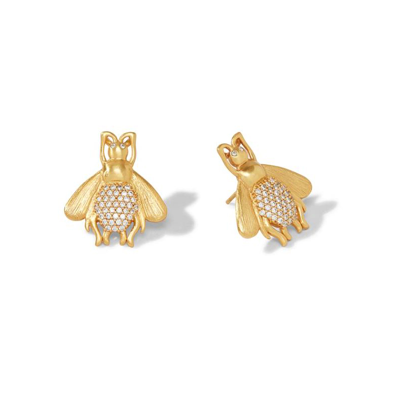 Julie Vos 24 Karat Gold-Plated Bee Luxe Cubic Zirconia Earrings