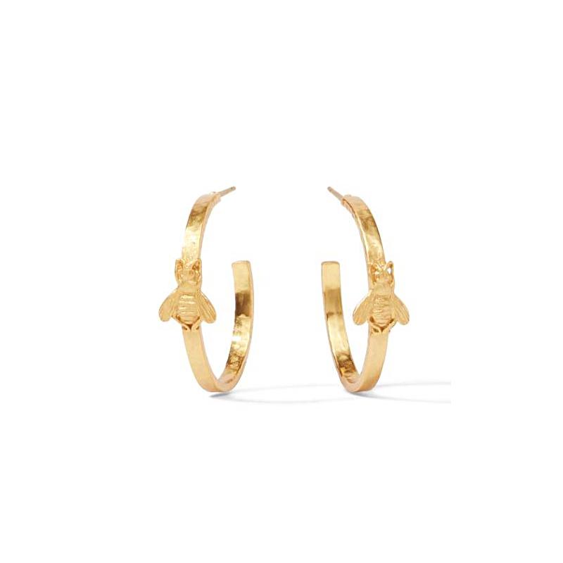 Julie Vos 24 Karat Gold Plated Bee Hoop Earrings