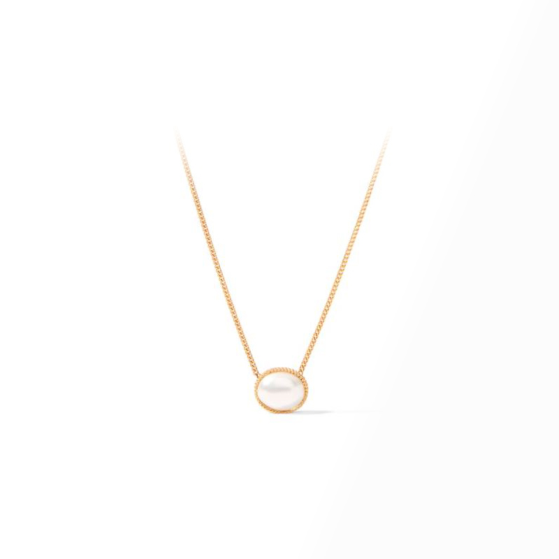 Julie Vos Gold Pearl Verona Solitaire Necklace