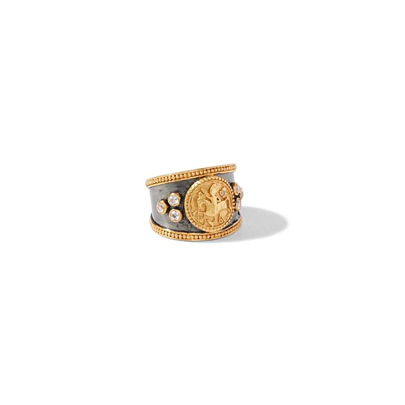 Julie Vos 24 Karat Gold Plated Cubic Zirconia Coin Crest Ring