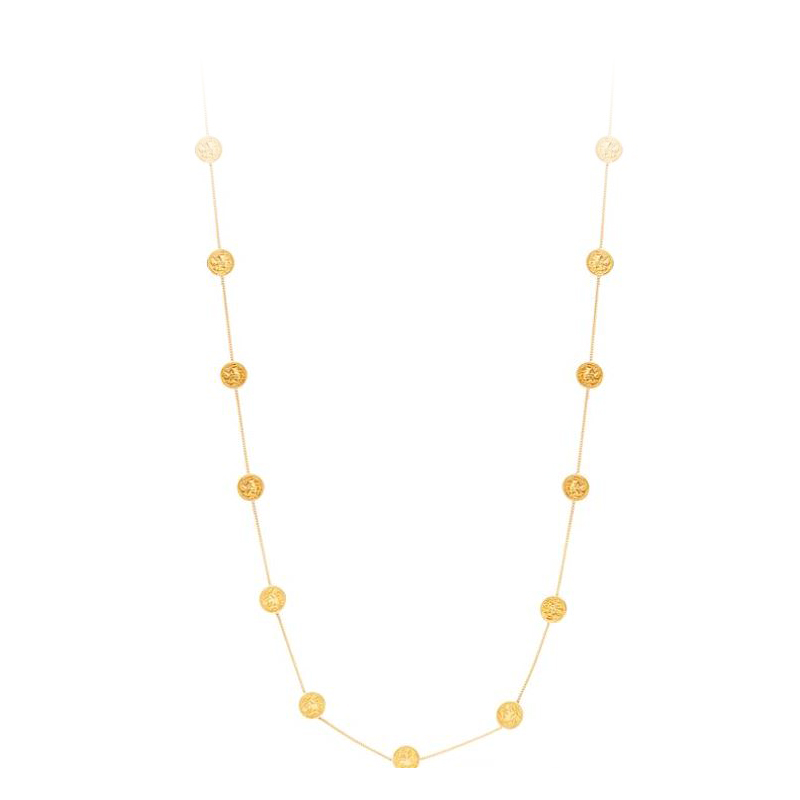 Julie Vos Gold Plated Coin Delicate Station Necklace