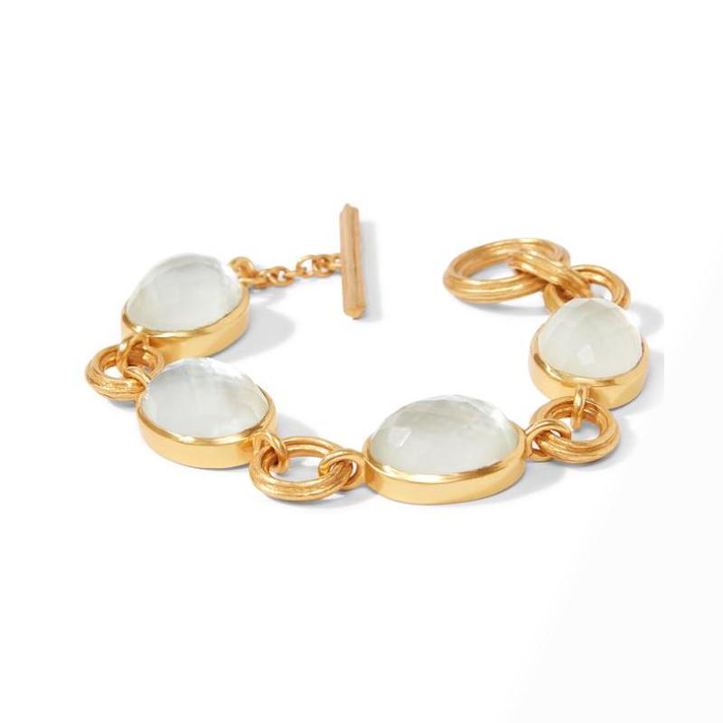Julie Vos 24 Karat Gold-Plated Iridescent Clear Crystal Link Bracelet