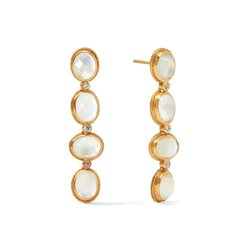 Julie Vos 24 Karat Gold-Plated Iridescent Clear Crystal Calypso Statement Earrings