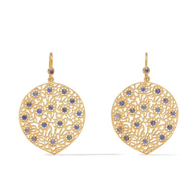Julie Vos 24 Karat Gold-Plated Chalcedony Blue Peacock Lace Collection Earrings