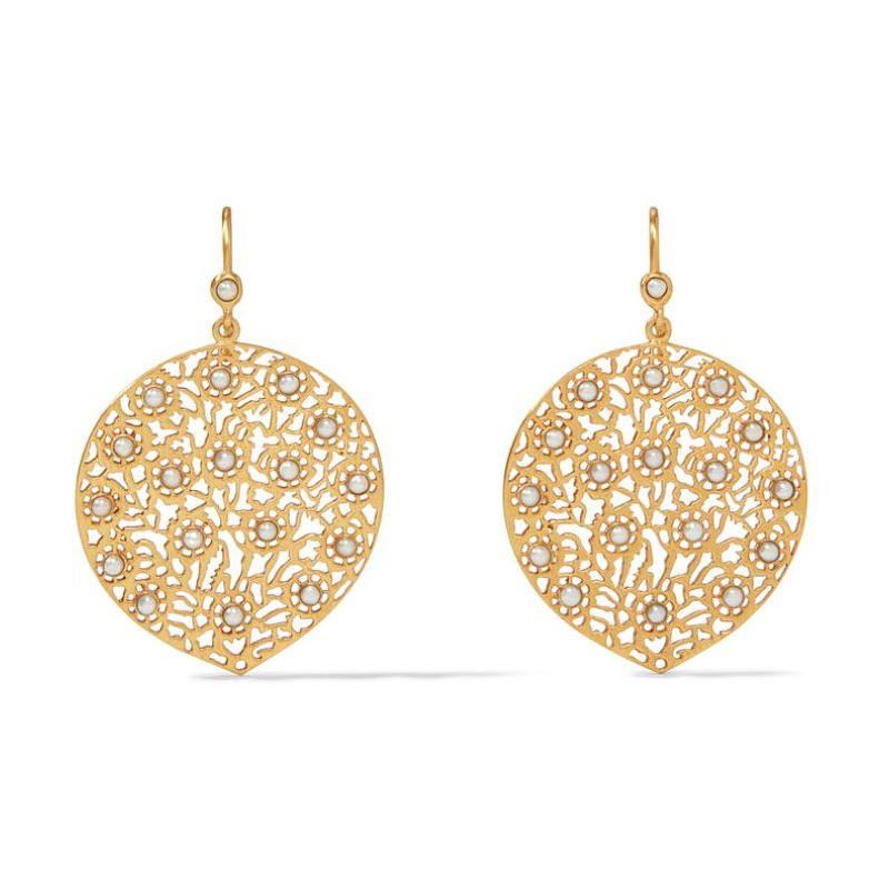 Julie Vos 24 Karat Gold-Plated Pearl Peacock Lace Collection Earrings