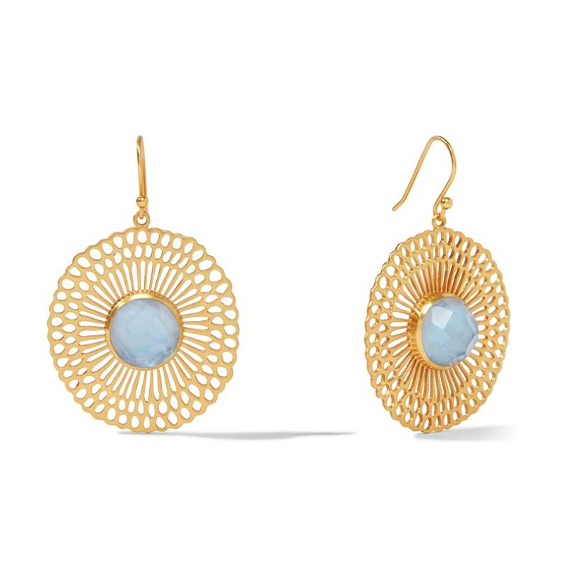 Julie Vos 24 Karat Gold-Plated Iridescent Chalcedony Soleil Lace Collection Earrings