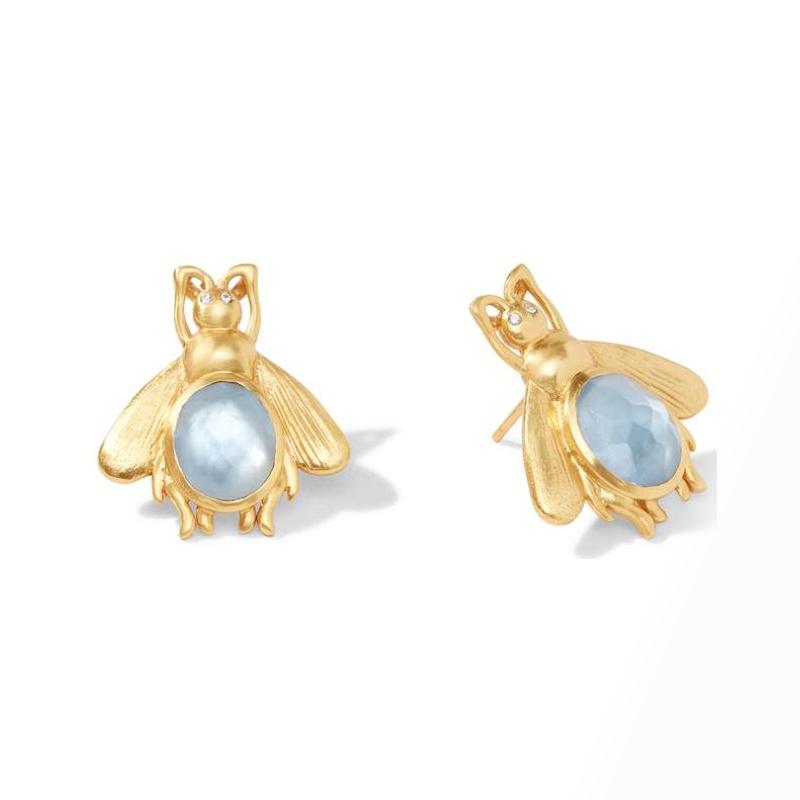 Julie Vos 24 Karat Gold-Plated Iridescent Chalcedony Bee Earring