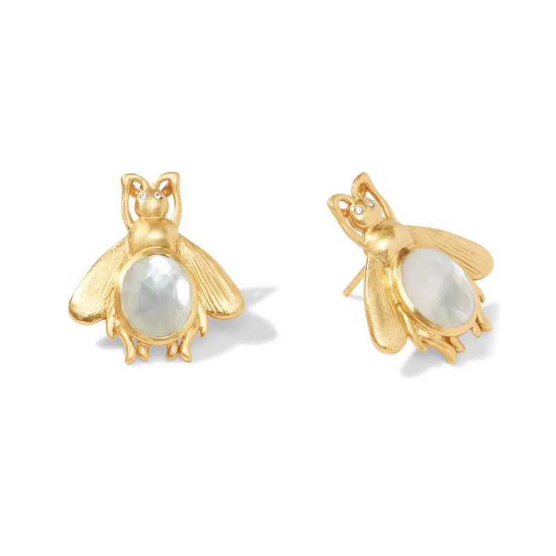 Julie Vos 24 Karat Gold-Plated Iridescent Clear Crystal Bee Earring