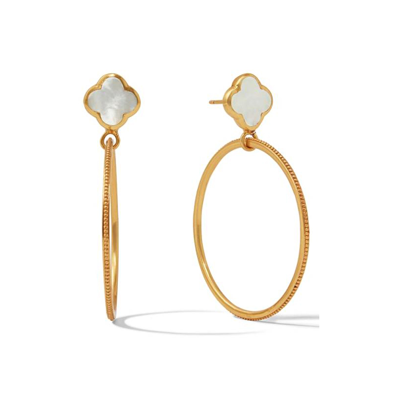 Julie Vos 24 Karat Gold-Plated Chloe Cirque Mother of Pearl Earrings