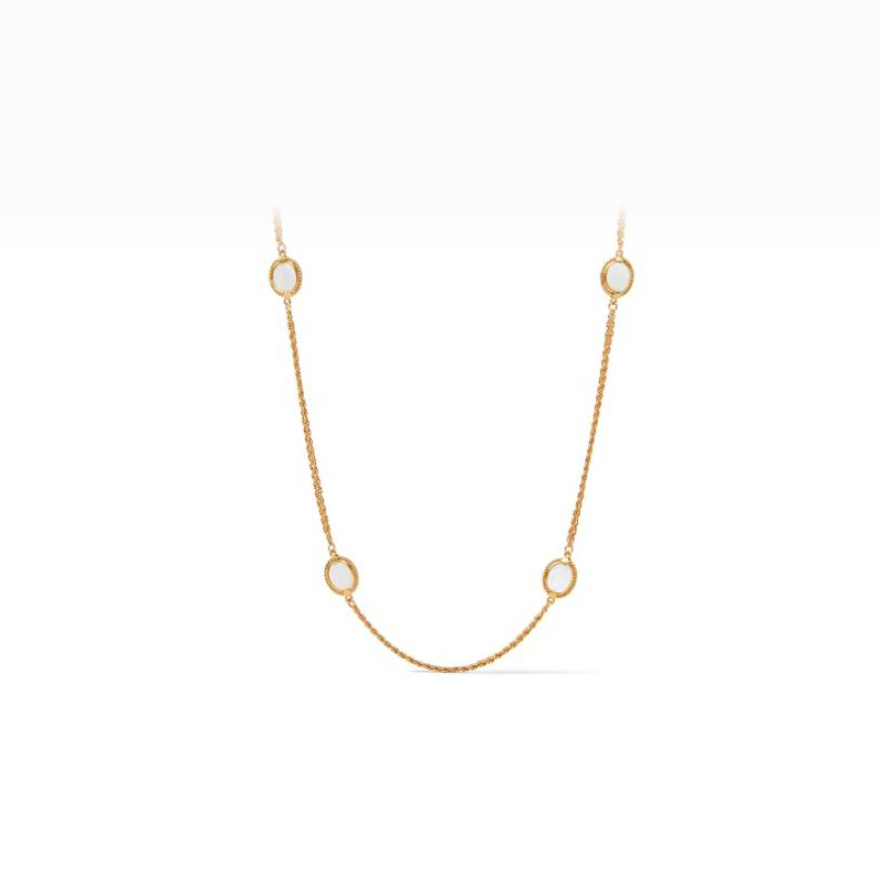 Julie Vos 24 Karat Gold-Plated Calypso Pearl Station Necklace