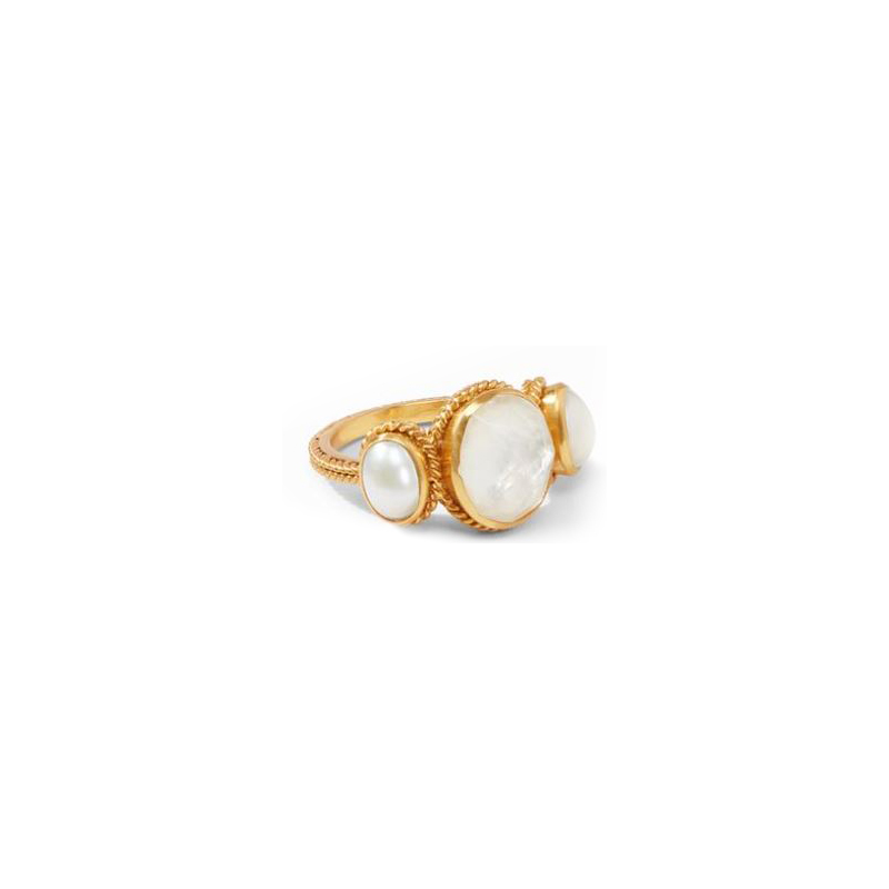 Julie Vos 24 Karat Gold-Plated Calypso Iridescent Clear Crystal Ring