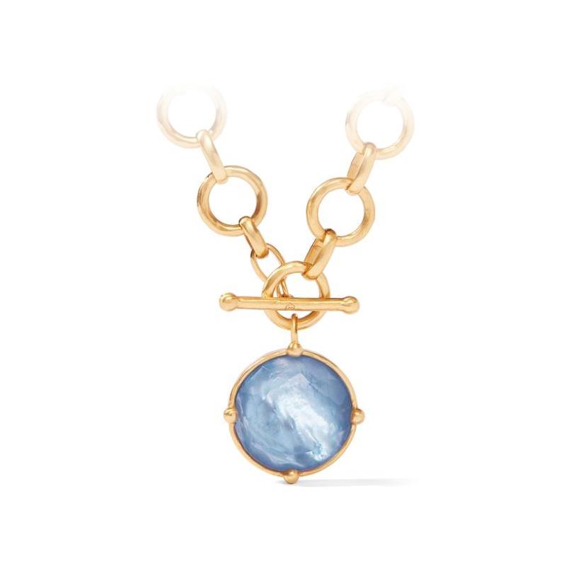 Julie Vos 24 Karat Gold Plated Chalcedony Blue Honeybee Statement Necklace