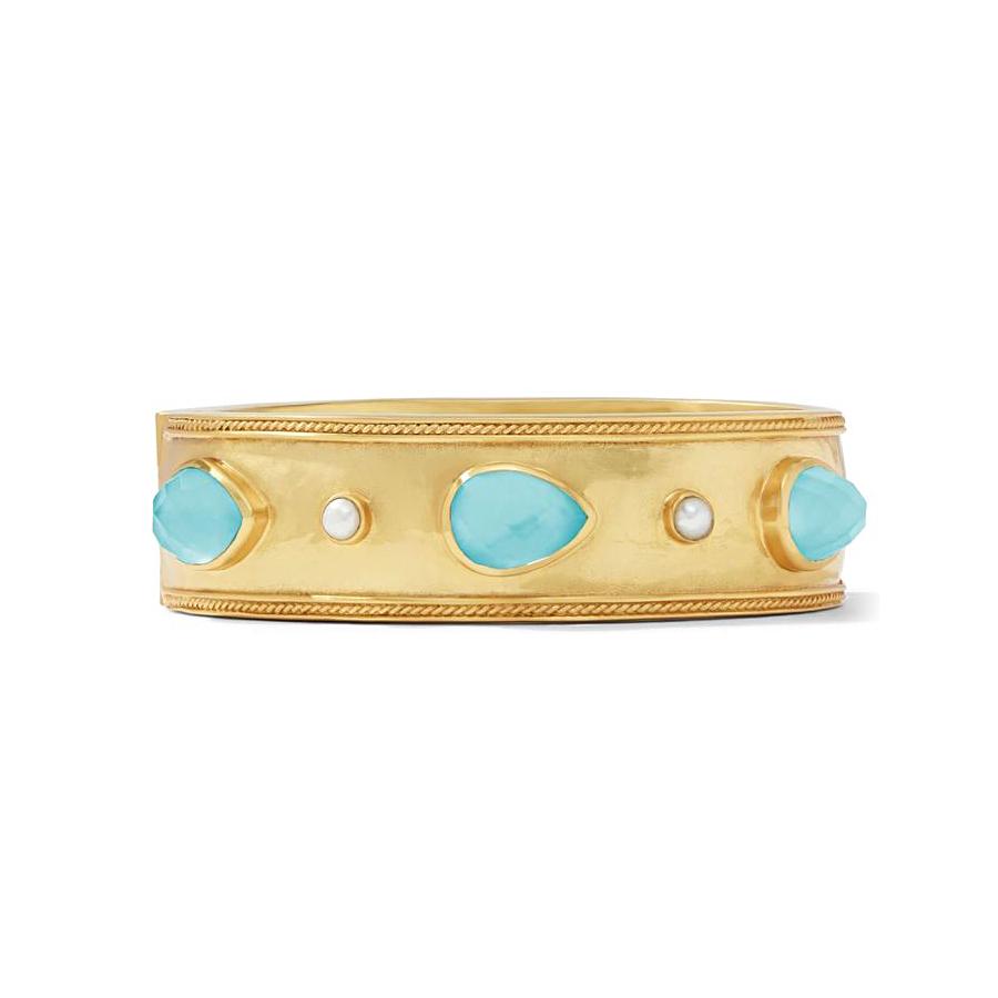 Julie Vos Cassis Statement Bahamian Blue Gold Hinge Bangle Bracelet